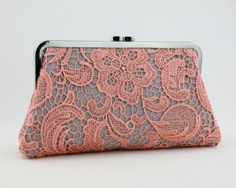 Coral Lace Bridal Clutch / Wedding Purse / Bridal Purse / Bridesmaid Purse Clutch