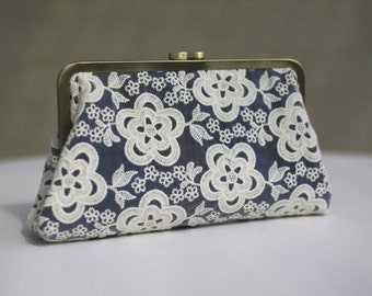 Cream Lace on Navy Bridal Clutch / Wedding Purse / Bridal Purse / Bridesmaid Purse Clutch