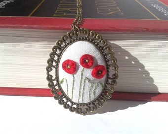 Poppy field hand embroidery pendant necklace