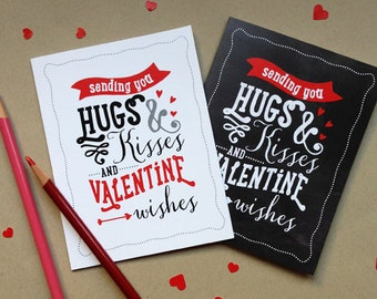 Valentine Card, Printable, 2 Designs, Chalkboard and White, 4.25 x 5.5 (A2), Instant Download, DIY
