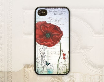 Poppy phone case iPhone 4 4S 5 5s 5C 6 6+ Plus Samsung Galaxy s3 s4 s5 s6 Shabby chic, Vintage script, Red Flower, Floral phone cover, V1654