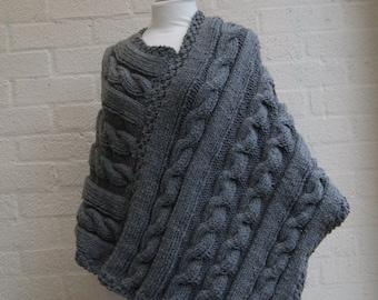 BLACK FRIDAY SALE  Chunky knit Grey Poncho/ Women Poncho/ Knitted Poncho