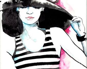 Parisian Fashion Original Watercolor - Parisian Fashion Illustration - Lana Moes Art