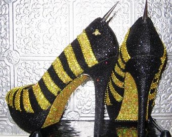 glitter and rhinestone bee heels with stingers