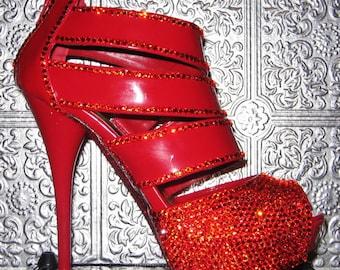 red patent platform heels with swarovski crystal rhinestones and glittered soles