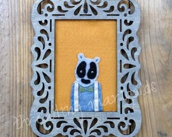Handmade Polar Bear//Hand Embroidered//Gray Wooden Frame//Saffron Felt Wall Hanging//Wool Felt//Urban Home or Nursery Decor//Custom Decor