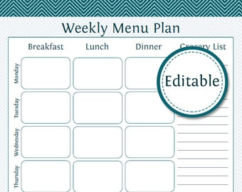 Weekly Menu Planner with Grocery Li st - Fillable - Printable PDF ...