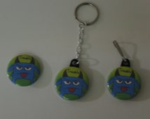 TROUBLE Button Pin, Keychain, Zipper Pull, Magnet, Necklace or T-Shirt