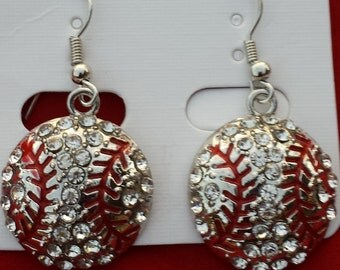 Bling Rhinestone Baseball Fish Hook Dangle Earrings 0.75' - 3/4 inch