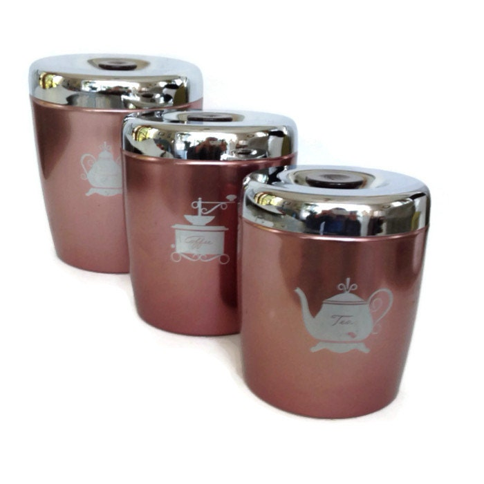 Vintage Kitchen Canisters Aluminum Copper Color With Silver