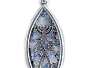 Gentle 925 Sterling Silver Pendant, Ancient Roman Glass Pendant, Fish, David Star, Judaica, Roman Glass Jewelry