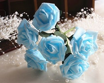 72 pcs Light Blue Artificial Flowers For Bridal Bridesmaids Bouquet Wedding Flowers Fake Roses Floral Wedding Decor