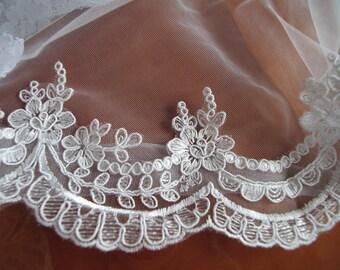 Lace trim, ivory alencon  Lace Trim, cord lace, embroidered lace, trim lace, scalloped lace trim bridal lace trim for bridal veil CG004B