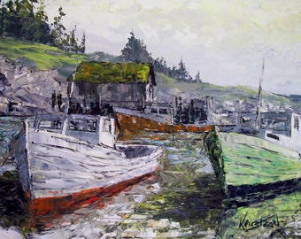 James Lorimer Keirstead Large Original Oil Painting 46 x 30 Landscape of Boats In The Harbor 1970s