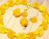 Hong Kong Soft Plastic Yellow Flower Earring and Necklace Set (vintage retro 50s 60s floral bright daisy wedding bridal summer clip choker) - SomeLittleStars
