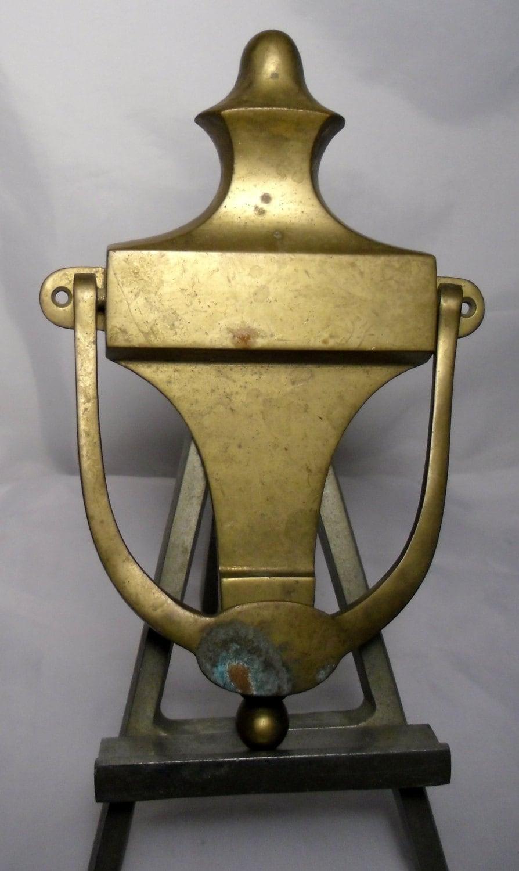 Vintage brass door knocker brass door knocker by salvagetheory for Custom made door knockers