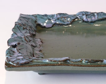 flowery green and blue rectangular tray