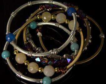 Bangles, Bangles, and More Bangles - Silver, Pewter and Iolite  Bead Bracelet