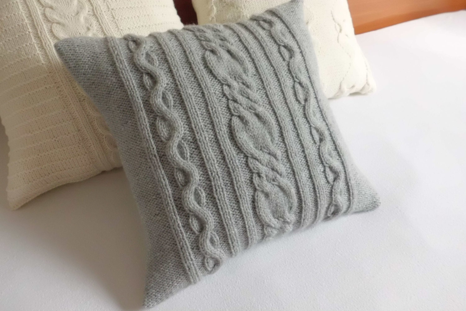 Cable Knit Pillow Pattern : Hand knit pillow case gray cable knit pillow knitted pillow