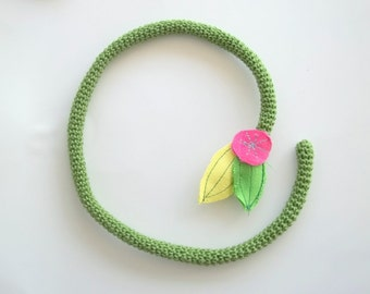 Crochet fiber art necklace- flexible necklace- floral necklace- spring jewelry- crochet rope necklace- flower jewelry- playful jewelry