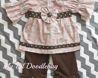 Pink & Brown Parisian Peasant Top with Ruffle Pants Size 2T