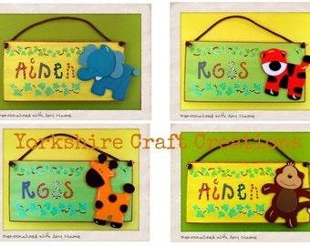 Personalised Children's Jungle Animal Bedroom Door Name Sign - Lion Tiger Monkey Elephant or Giraffe