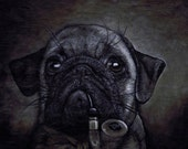 Limited Edition Signed Pug with Pipe Print