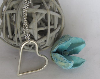 Heart Necklace, Silver Heart Necklace, Sterling Silver Heart, Handmade