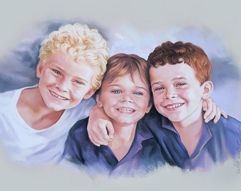 Pastel portrait of 3 brothers