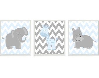 Nursery Art  Elephant Giraffe Hippo Safari Wall Art - Blue Gray Chevron  Print Set   - Baby Boy Children Kid Room Home Decor Wall Art