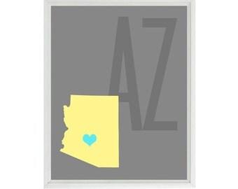 Arizona Map Art Print - Custom Personalized Gray Yellow Decor Wedding Love Baby Wall Art Home Decor   Print