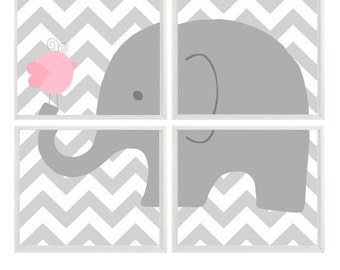 Elephant Nursery Art, Baby Girl Nursery Art, Pink Gray Chevron, Girl Wall Art, Elephant Bird Print, Gray Chevron Decor, Wall Art,