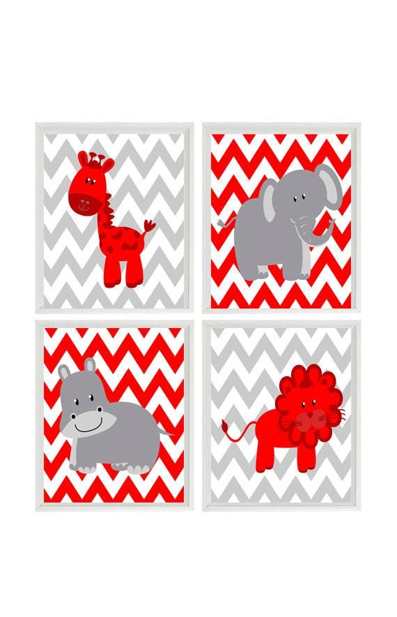 Nursery Art Print Set Modern Gray Red White Chevron Elephant Giraffe Hippo Lion Safari