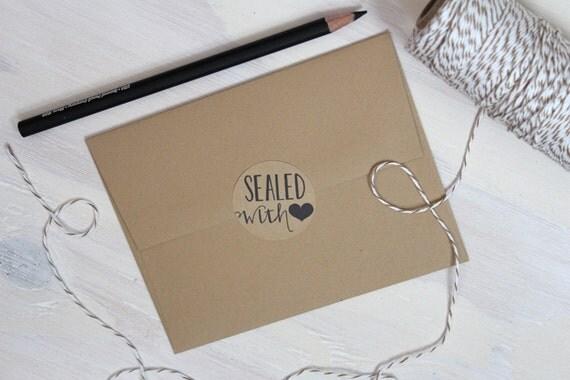 120 Rustic Kraft Sealed with love stickers // Kraft Stickers // Rustic Stickers // Envelope Seals // Rustic Labels // Wedding stickers