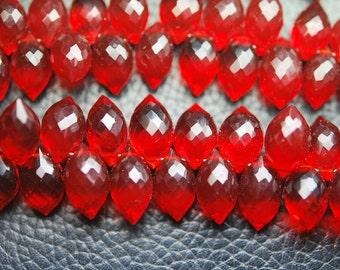 New Arrival,20 Pcs,Superb-Finest Quality,Ruby RED Quartz Faceted Dew Drops Shape Briolettes,11-12size,