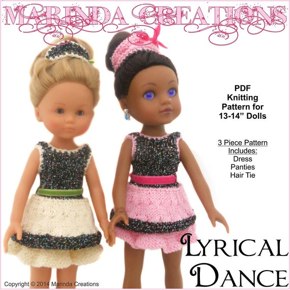 Knitting Patterns For 13 Inch Dolls : Dolls PDF Knitting Pattern - Lyrical Dance for 13 - 15 ...