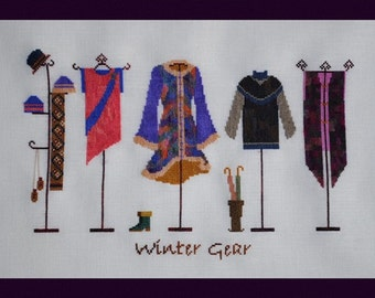 Winter Gear! Counted Cross Stitch Chart. Winter Clothing. Shop Window. Accessories. Decor. DIY. Direct Checkout.