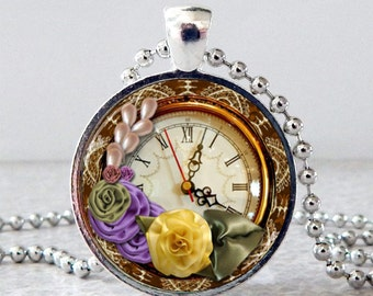 Steampunk Glass Pendant Necklace, Watch Face Glass Art Pendant, Antique Clock Face, Steampunk Jewelry, Clock Face Necklace