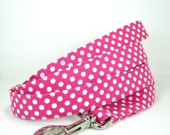 Wrap Around Fabric Dog Leash-Fuchsia Pink Polka Dot