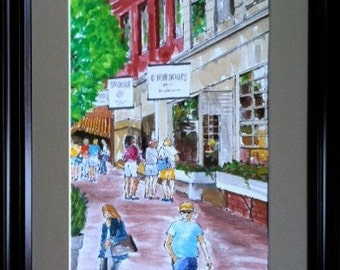 PRICE REDUCED! Gouache Painting Of Nantucket Shoppers. Was listed at 110.00
