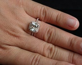 Rose Gold White Topaz Halo Ring in 14k with White Topaz Cushion 8mm and Diamonds (Also Available in White Gold)