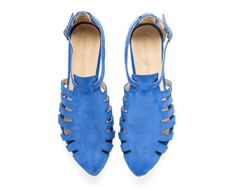 Alice, Royal blue shoes, Flats, Leather Sandals Alice, Handmade, Flat Sandals by tamar shalem on etsy