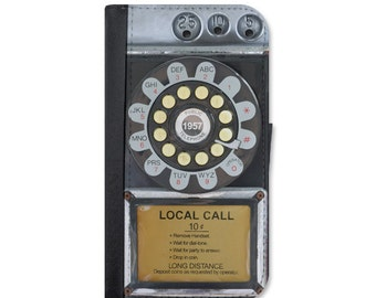 Vintage Rotary Payphone Wallet Case For The iPhone 4/4s, 5 /5s, 5c, 6/6s, 6 Plus/6s Plus, 7 or 7 Plus.