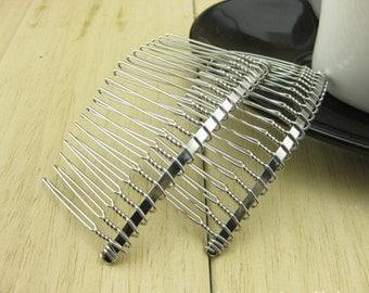 10pcs Wedding Bridal Accessory Veil Crafts DIY Wholesale Silver ToneTwist 20 teeth Metal hair comb