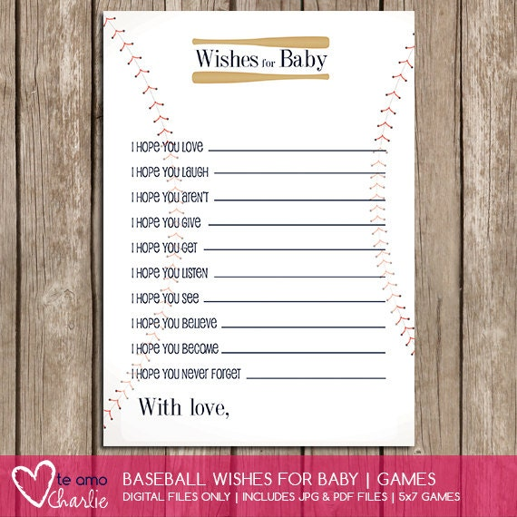 baseball wishes for baby sports baby shower theme instant download