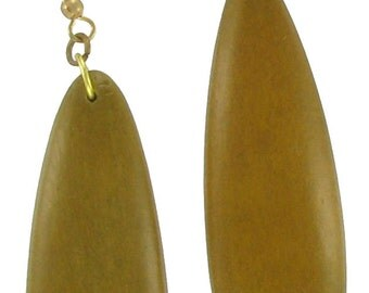 1980s Vintage Disc Beaded Brown Dangle Pierced Earrings