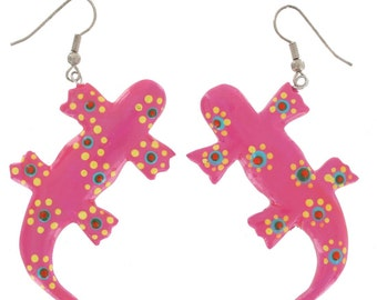 Western Pink Salamander Pierced Earrings Dangle Hand Painted Wood 80s Vintage