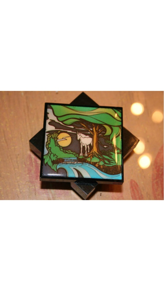Acrylic Trinket Boxes : Vintage black plastic unicorn trinket box