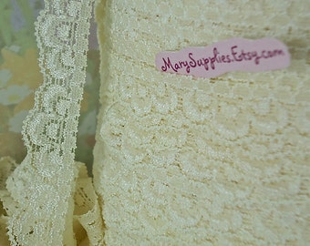 3yds Elastic Lace Trim Stretch Scolloped edge 5/8 inch White Cream Ivory Stretch Lace Headband Single Edge Elastic by the yard