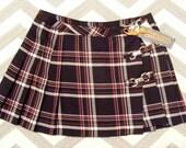 Vintage 90's Plaid Mini Skirt // Pleated // 31 // Black Red White //